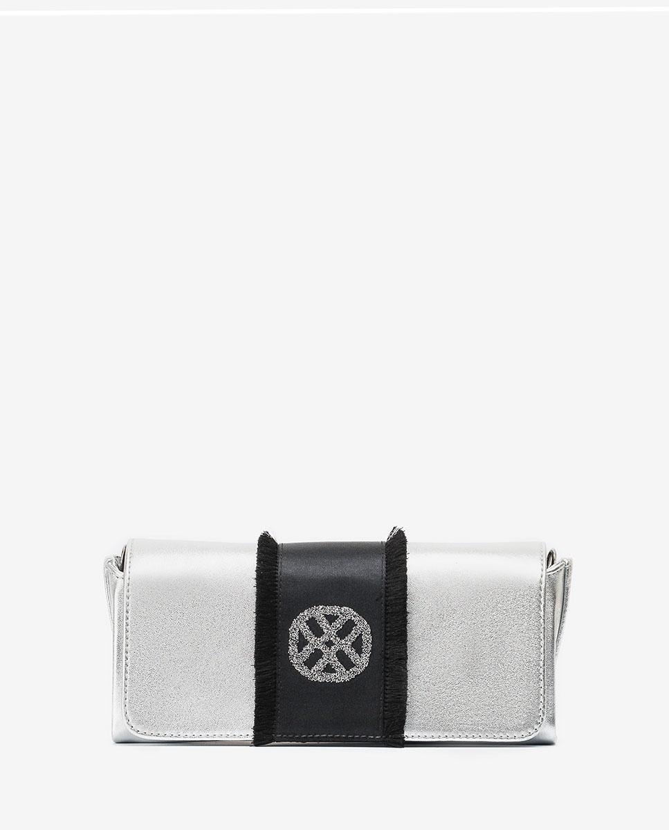 UNISA Bolso de mano metalizado con monograma ZDREAMER_LMT silver