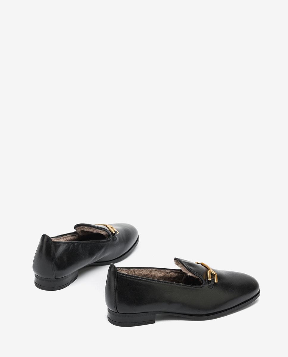 UNISA Slipper negro de piel DOLFI_NA black