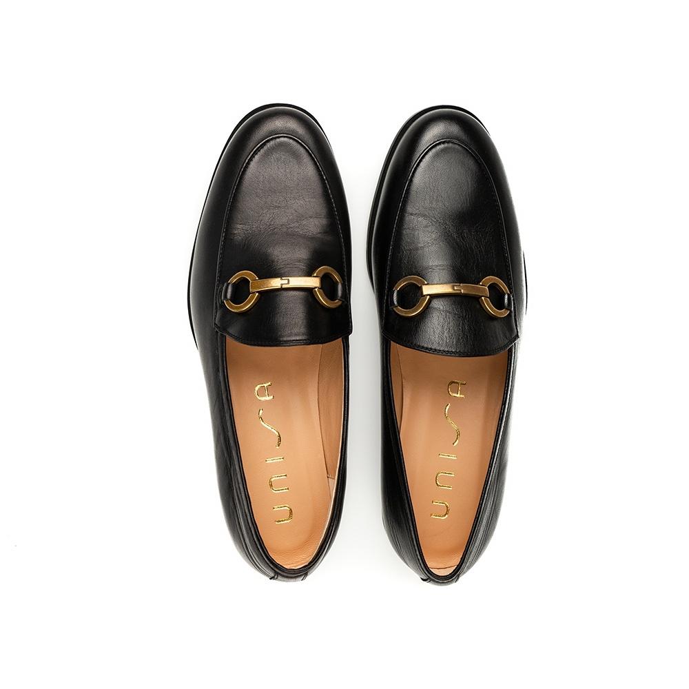 UNISA Mocassin cuir noir chaînette DAIMIEL_NA black 3