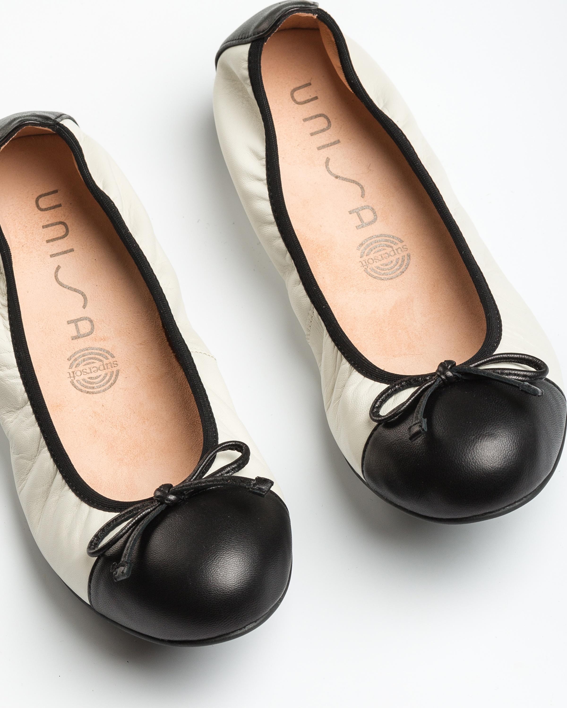 UNISA Ballerine contraste cuir AUTO_20_NS ivory/blk 3