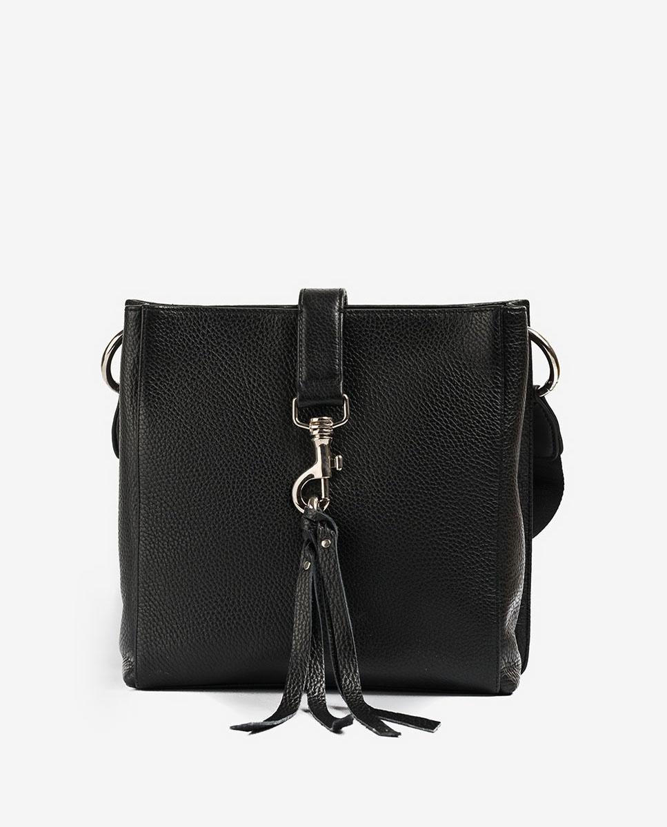 UNISA Sac bandoulière noire cuir mousqueton ZMOLAS_MM black 3