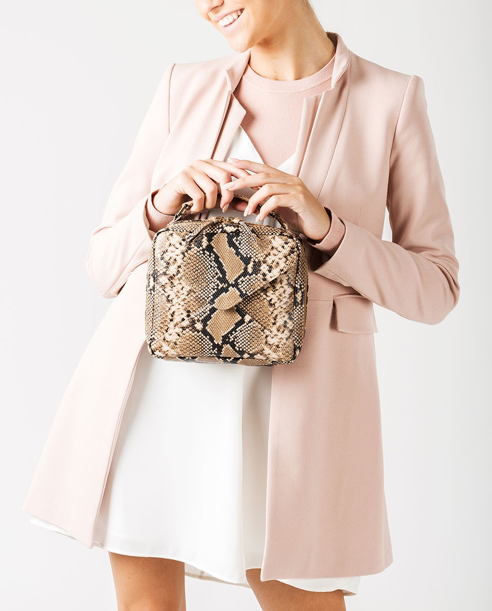 UNISA Petit sac à main type boîte effet serpent  ZETICO_VIP ginger 3