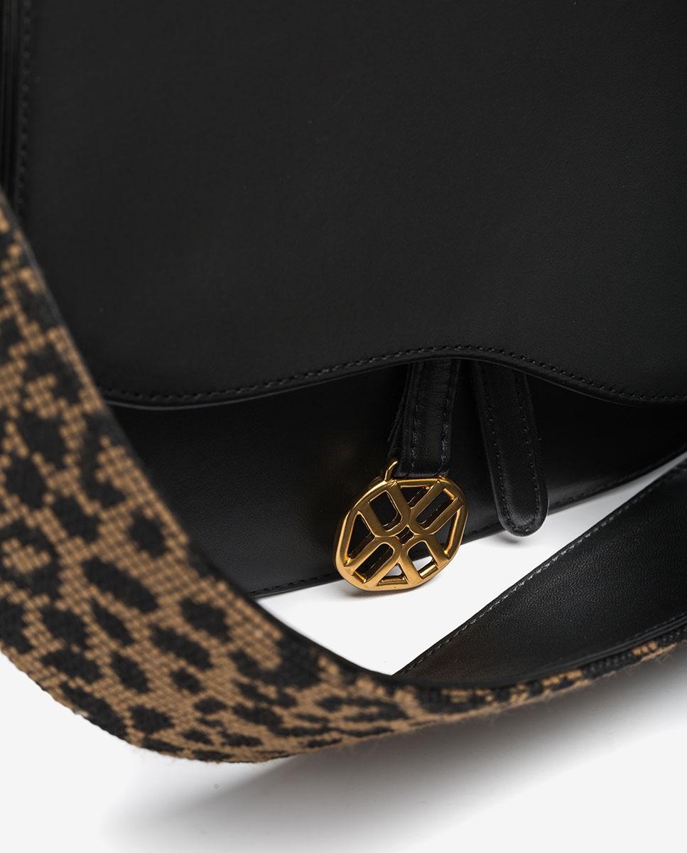 UNISA Sac à main daim avec bandoulière léopard ZFUSO_NT_LEO black 3