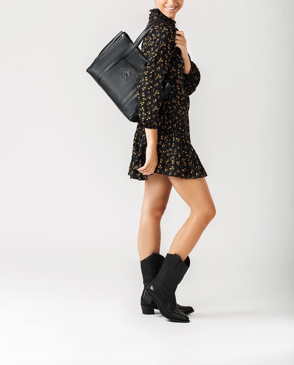 UNISA Sac shopper en cuir ZNOLI_MM black 3