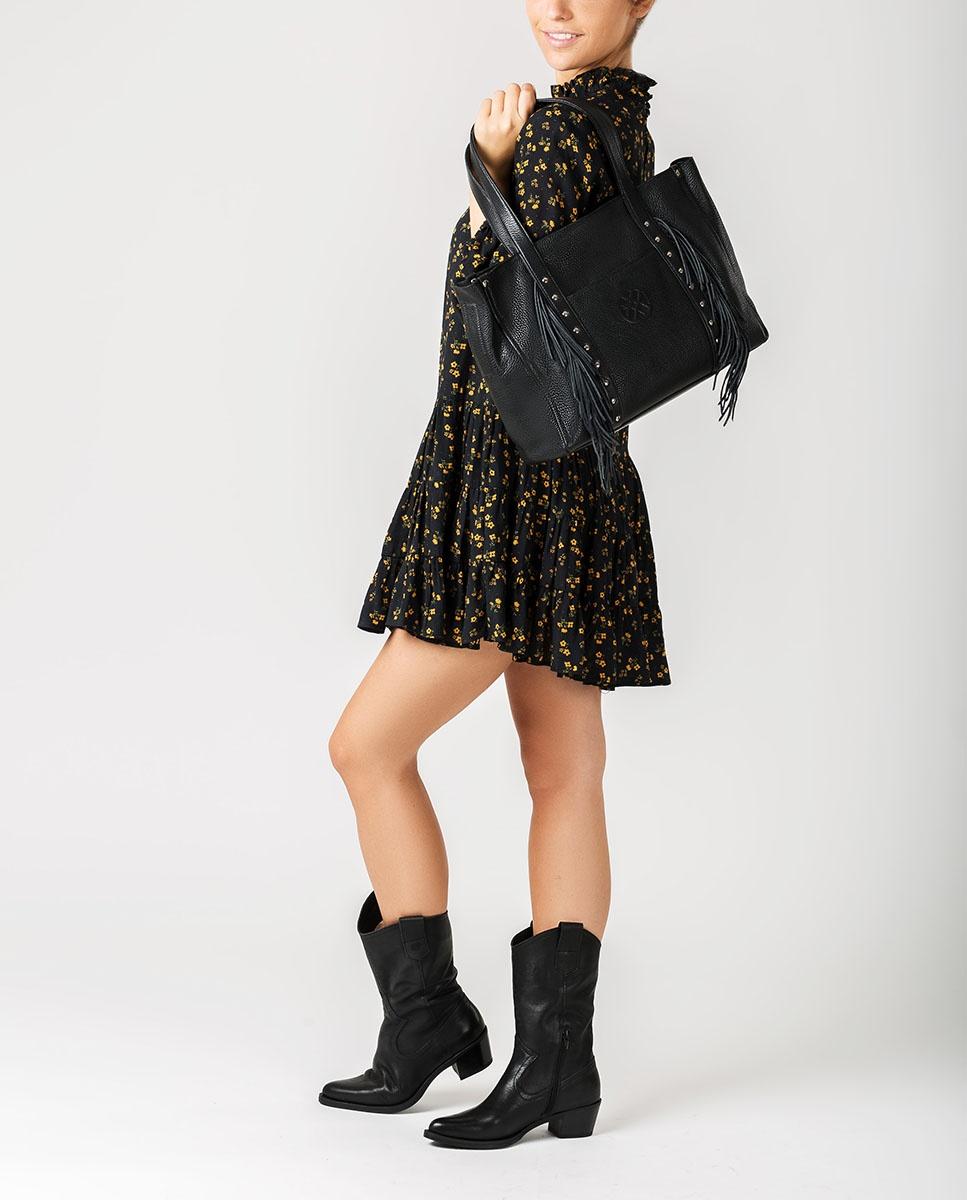 UNISA Leather shopper bag with fringes ZNOLITA_MM black 3