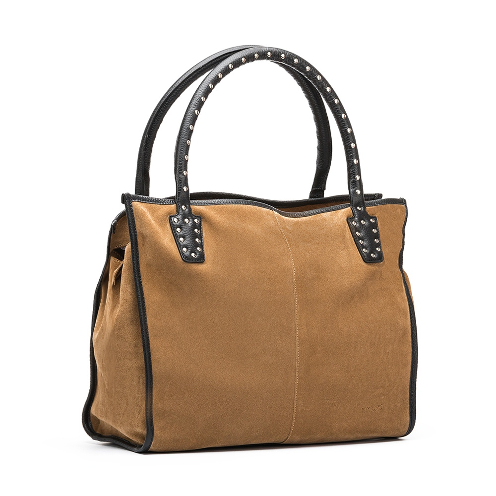 UNISA Tote bag marron avec clous  ZTRUS_BS_MM ginger/blk 3