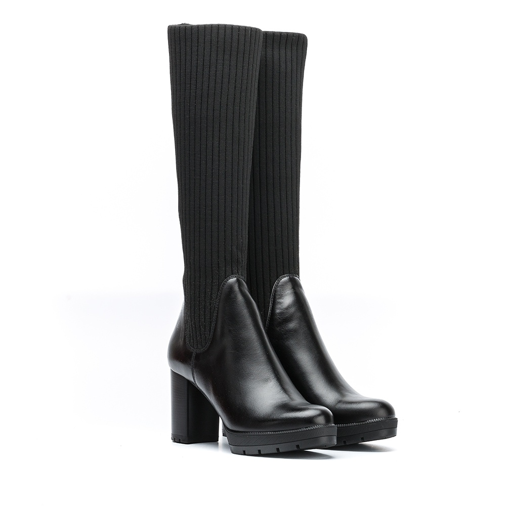UNISA Botte chaussette côtelée semelle track  KIBE_NE black 3