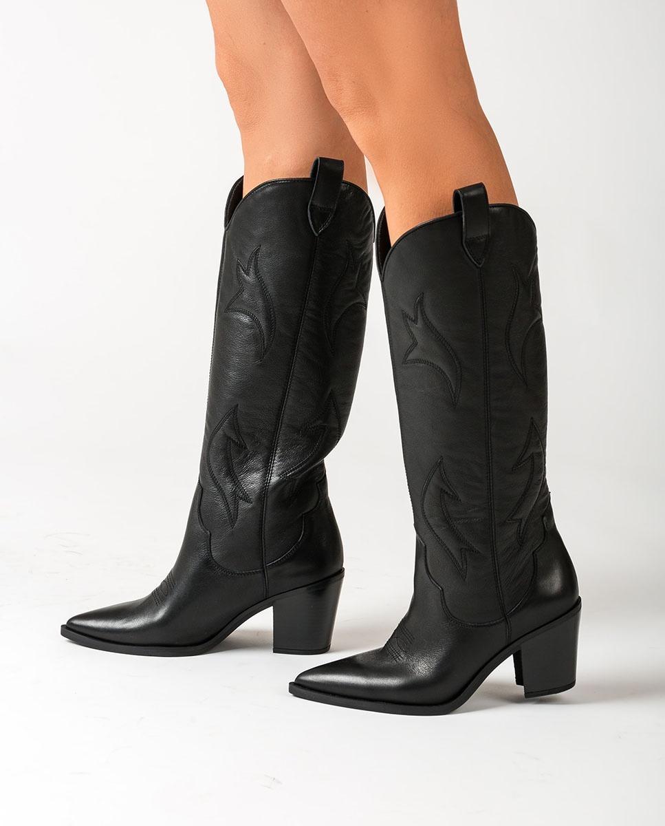 UNISA Bottes cowboy noires brodées MIRABEL_CRE black 3