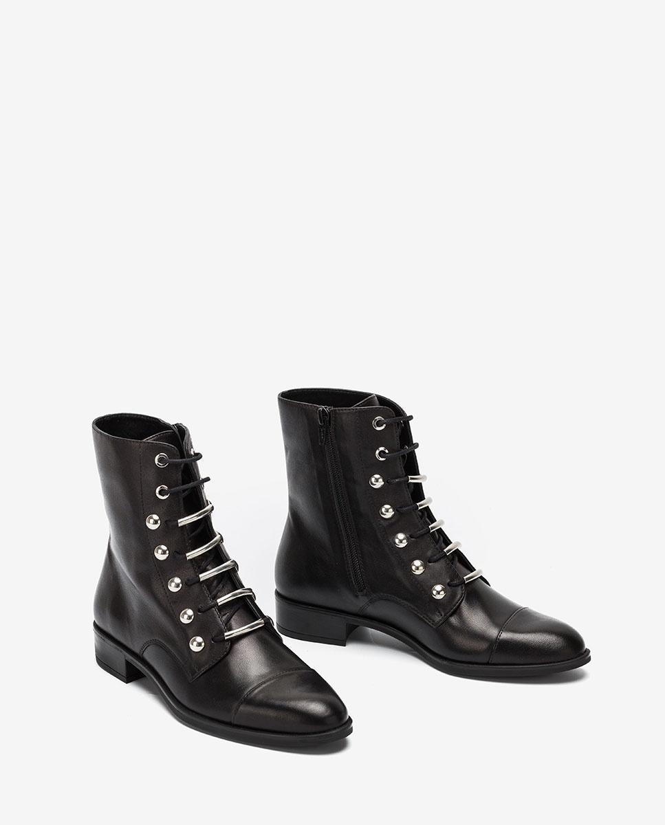 UNISA Bottines à lacets noires BARO_VU black 3