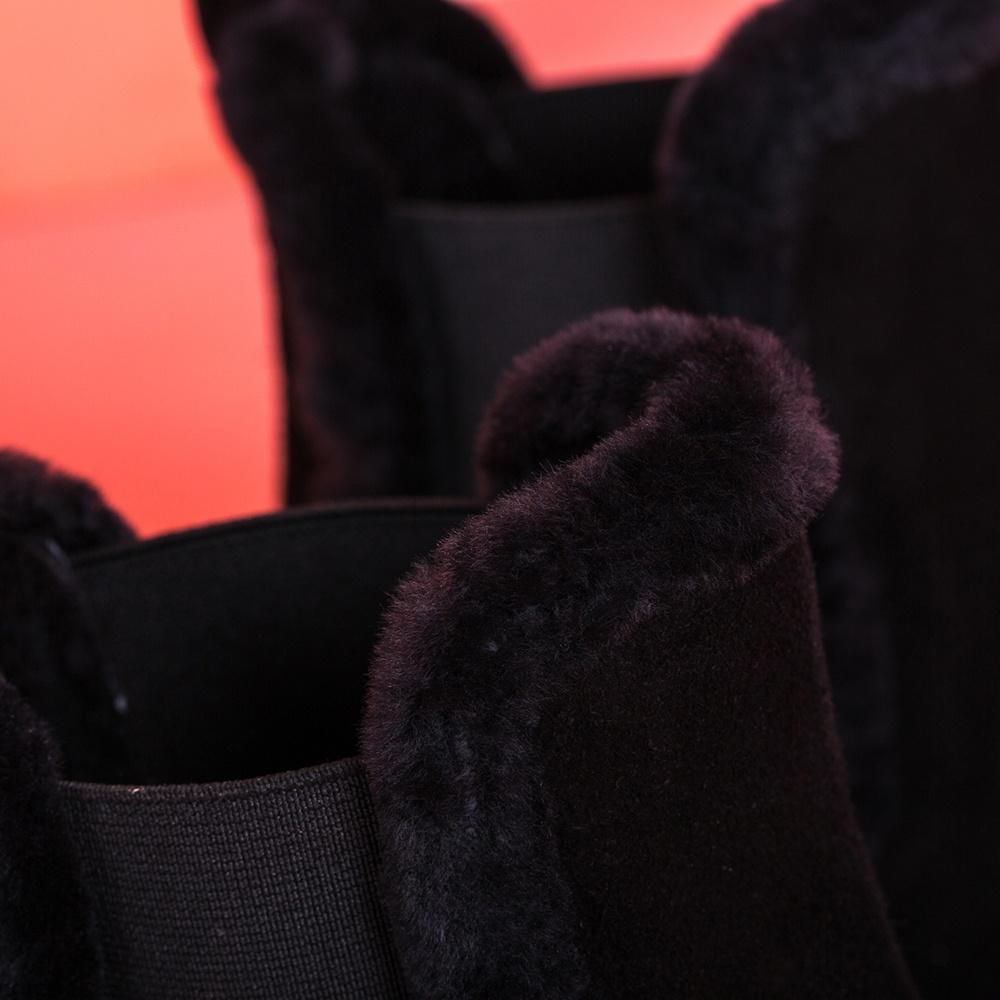 UNISA Bottine en daim bordure fourrure FRASER_BS black 3
