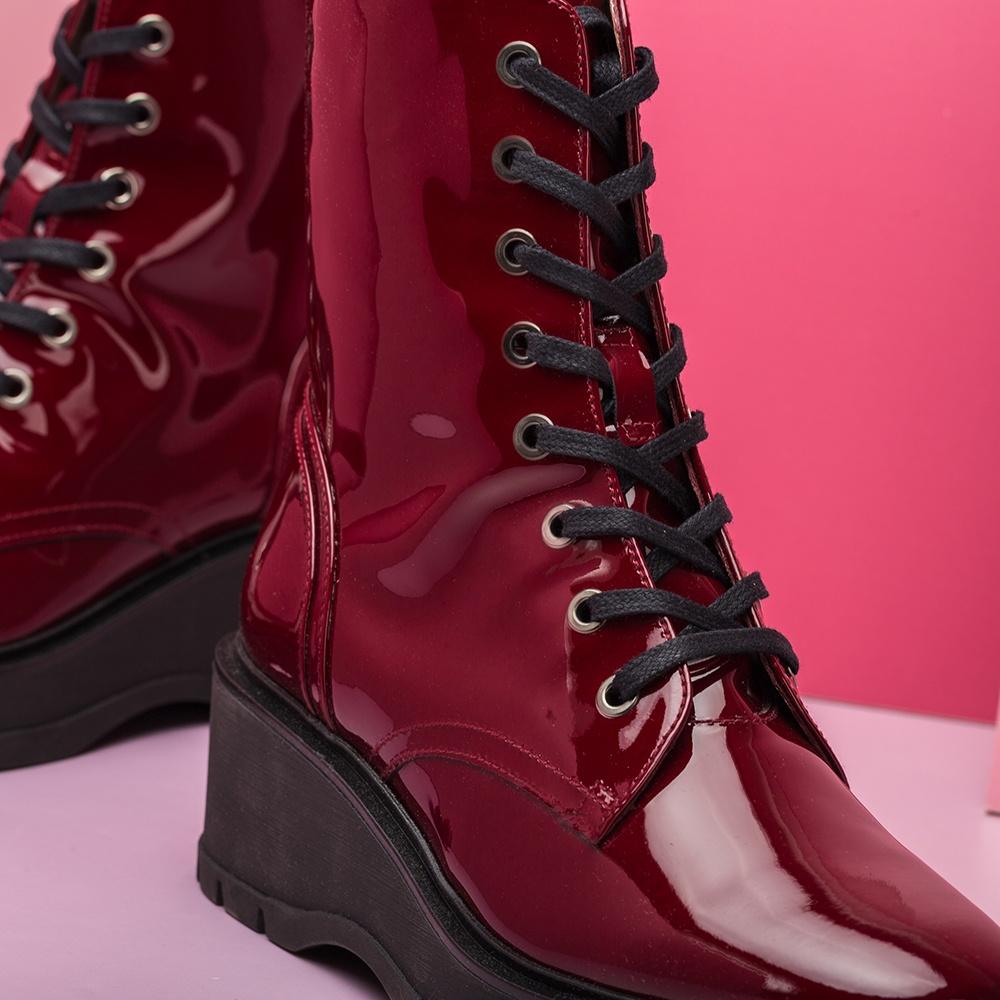 UNISA Bottine militaire vernis rouge GRYSO_PA red velvet 3