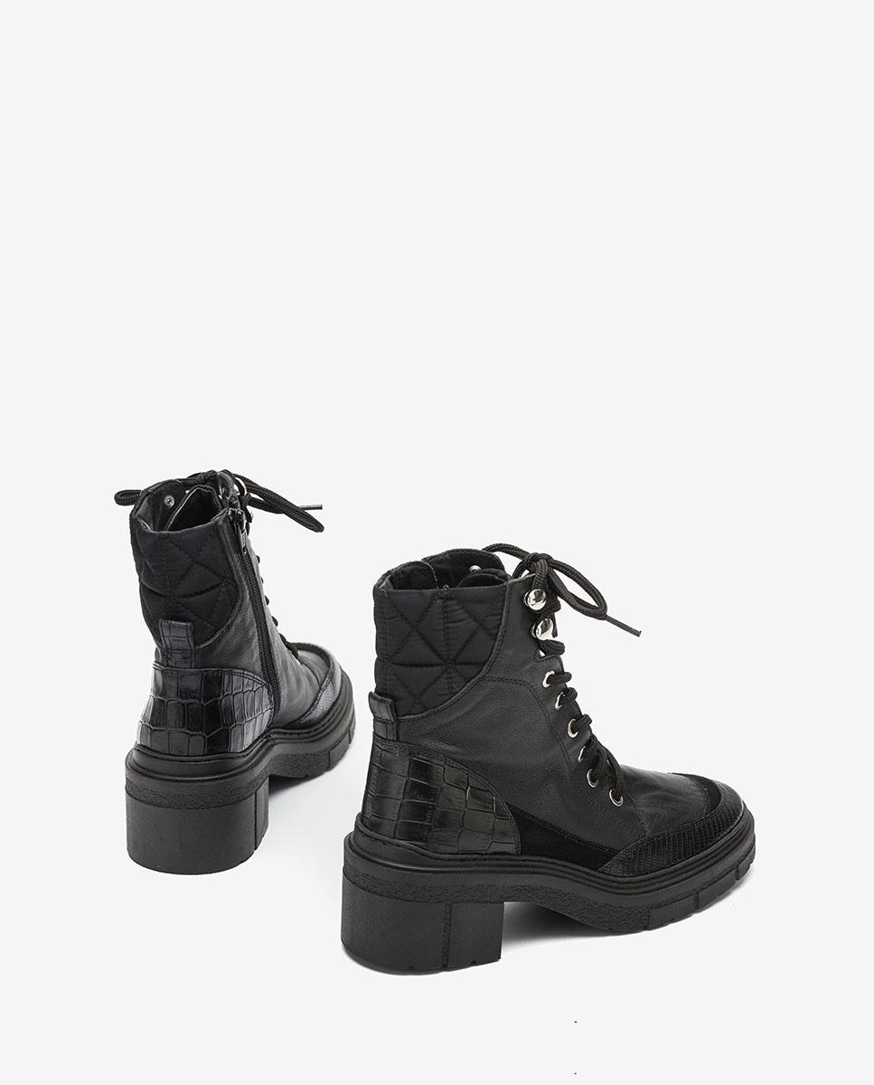 UNISA Bottines noires contraste à lacets JASON_CRE black 3