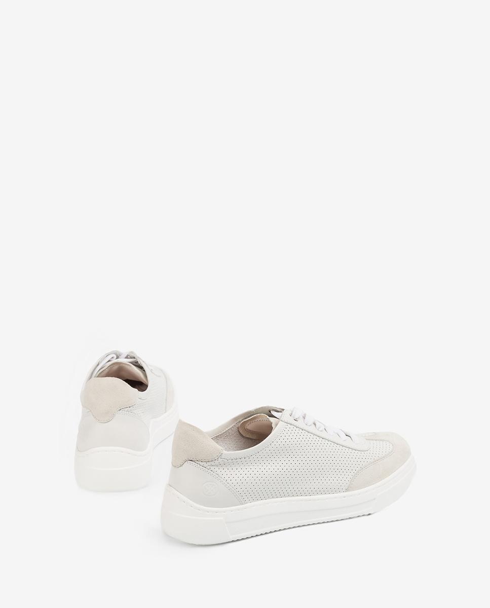 UNISA Chaussure de sport cuir perforations FABIO_NF_KS ivory 3