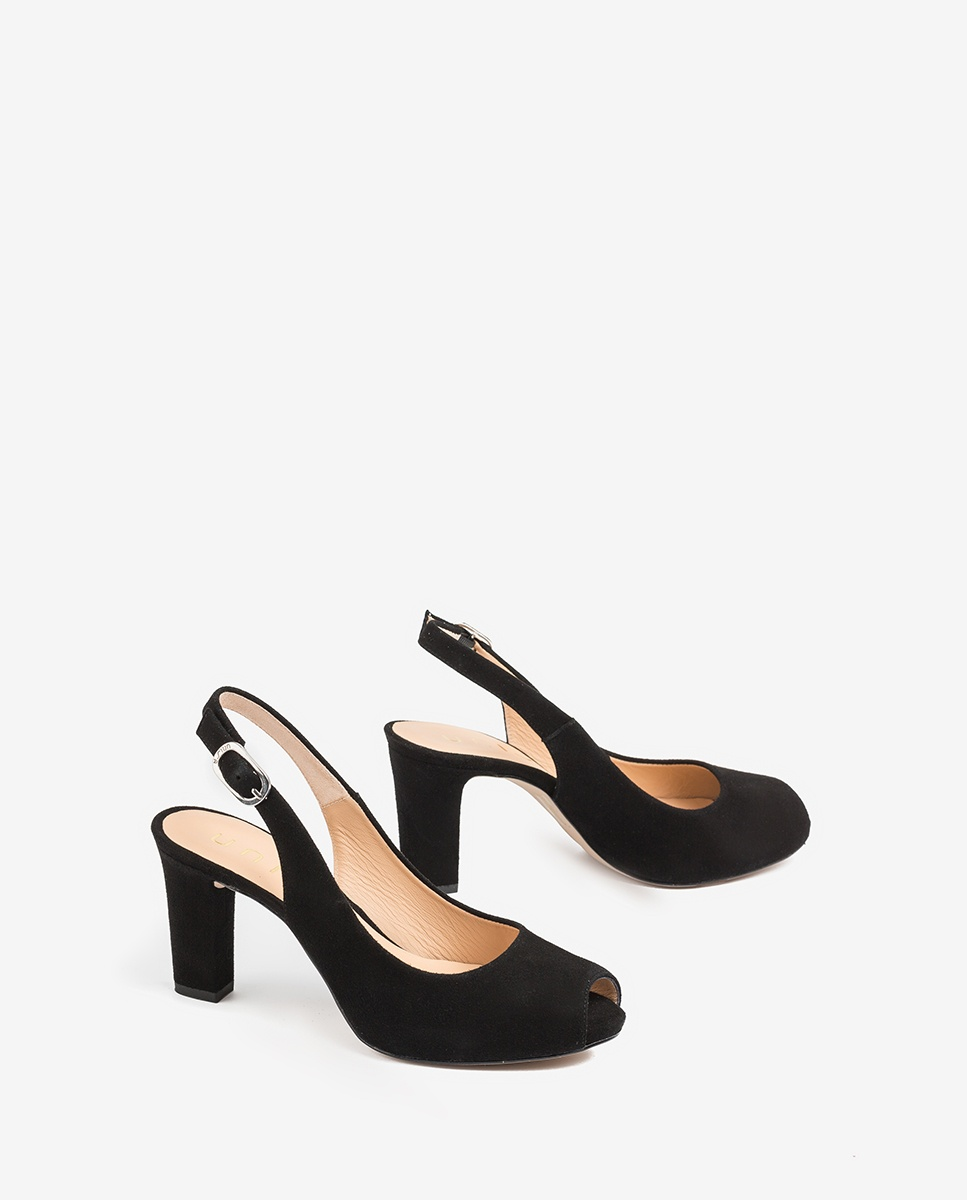 UNISA Peep toe noir ouvert daim NICKA_CLASSIC_20_KS black 3