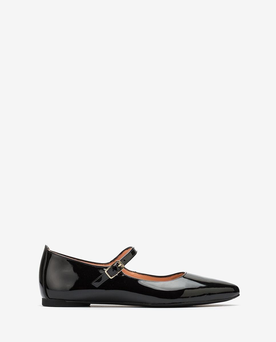 UNISA Chaussures plates en cuir verni Mary Jane Shoes ABAT_PA black 3