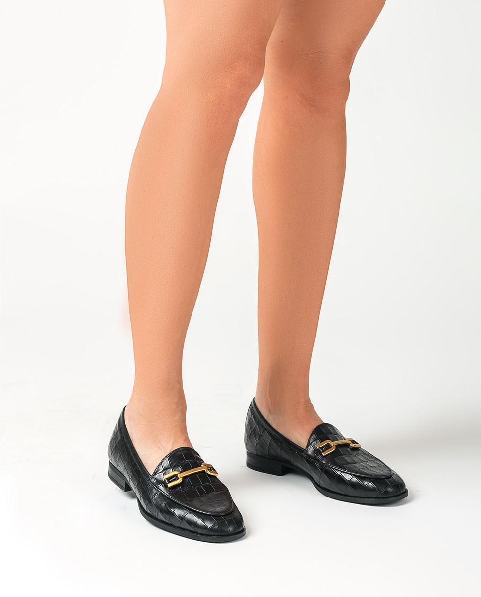 UNISA Mocassin en cuir croco DAIMIEL_F20_MAL black 3