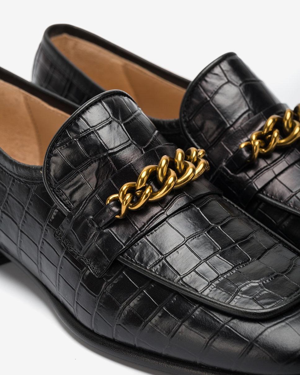 UNISA Mocassins en cuir effet croco à bout carré ESAUL_LAU black 3