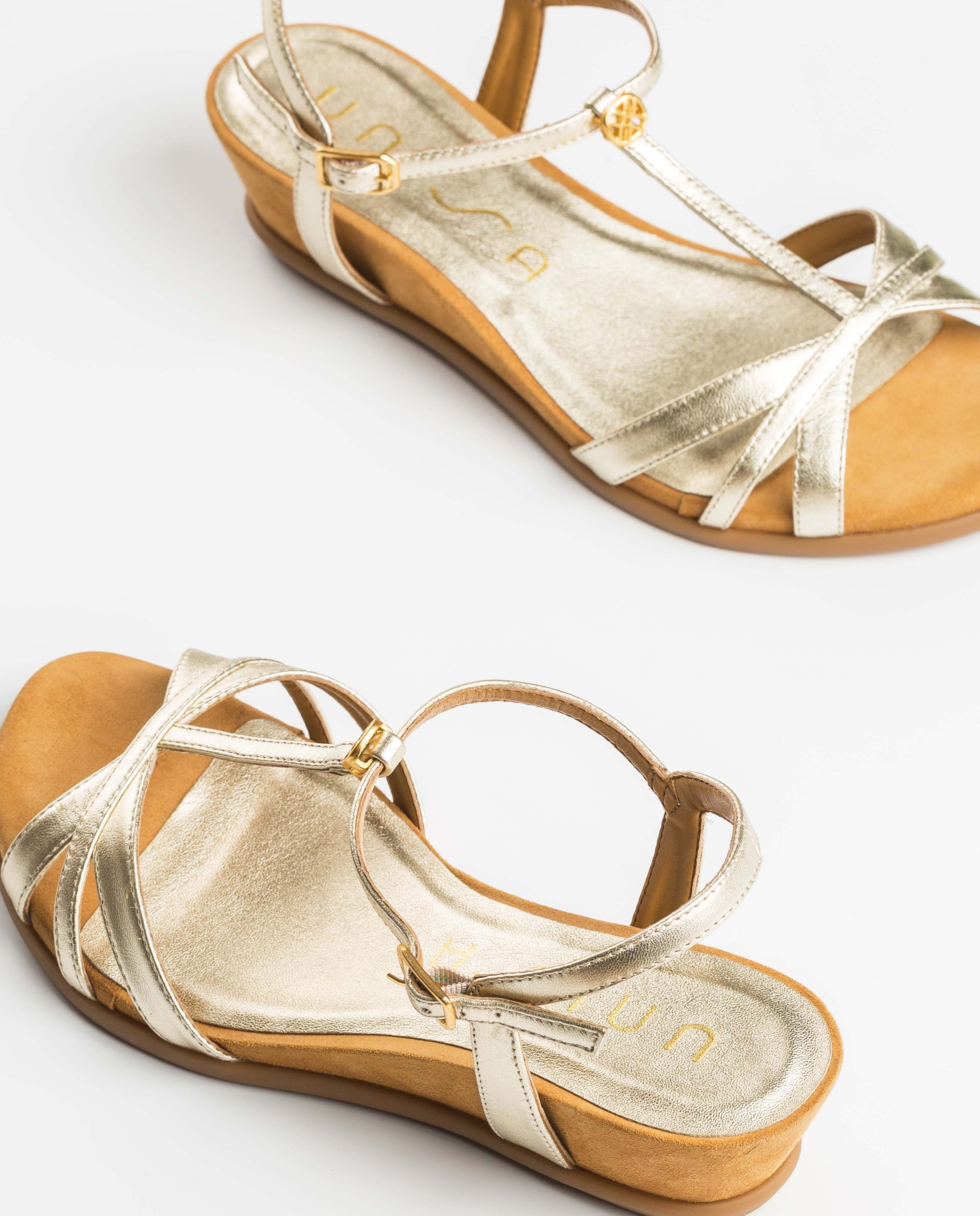 UNISA Sandales dorées monogramme BINAR_LMT platino 3