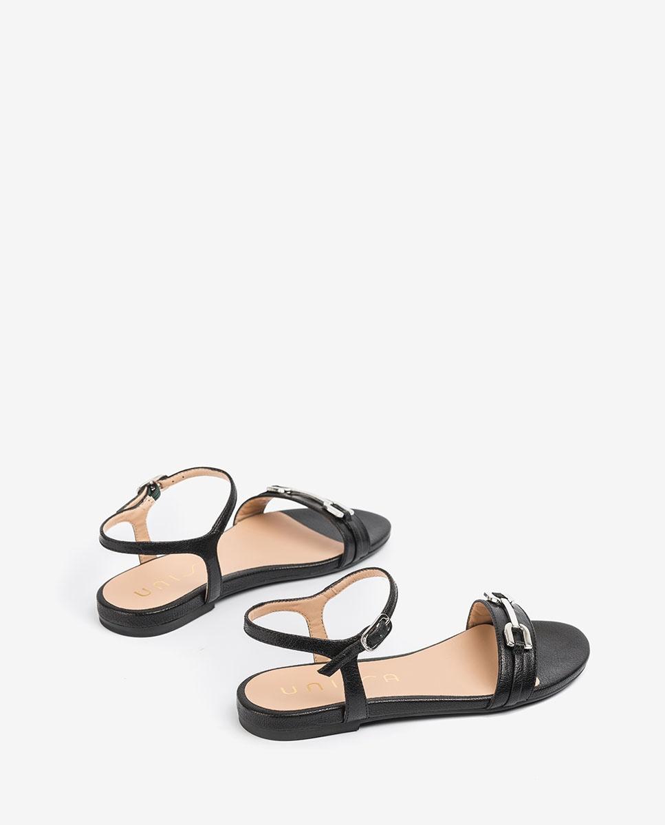 UNISA Sandale plate cuir brillant CARITA_GCR black 3