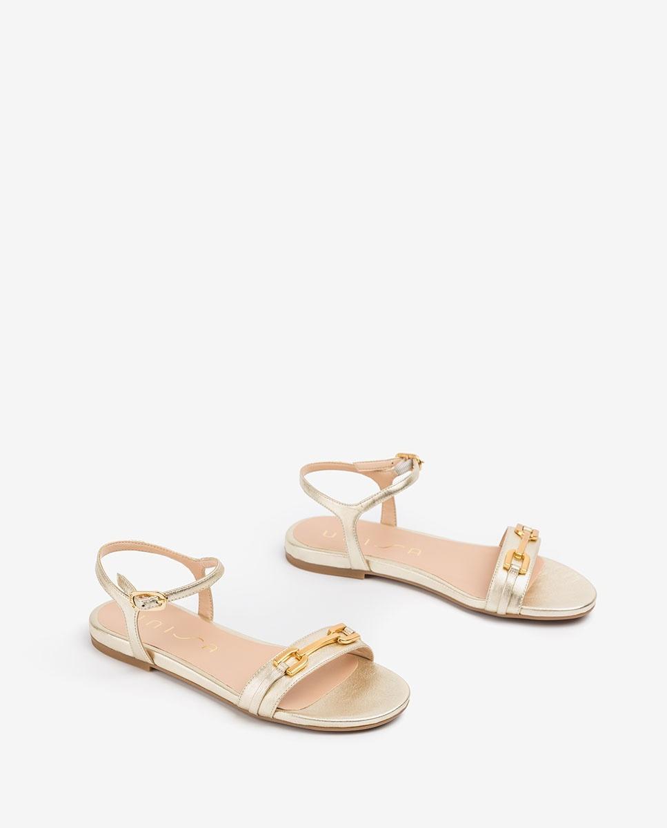 UNISA Sandale plate dorée CARITA_LMT platino 3