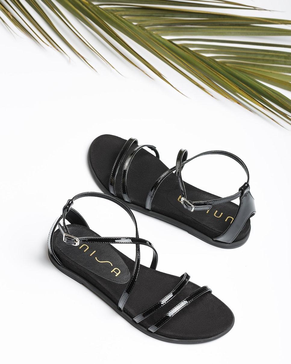 UNISA Sandale plate multi lanières vernis CIRILA_PA black 3