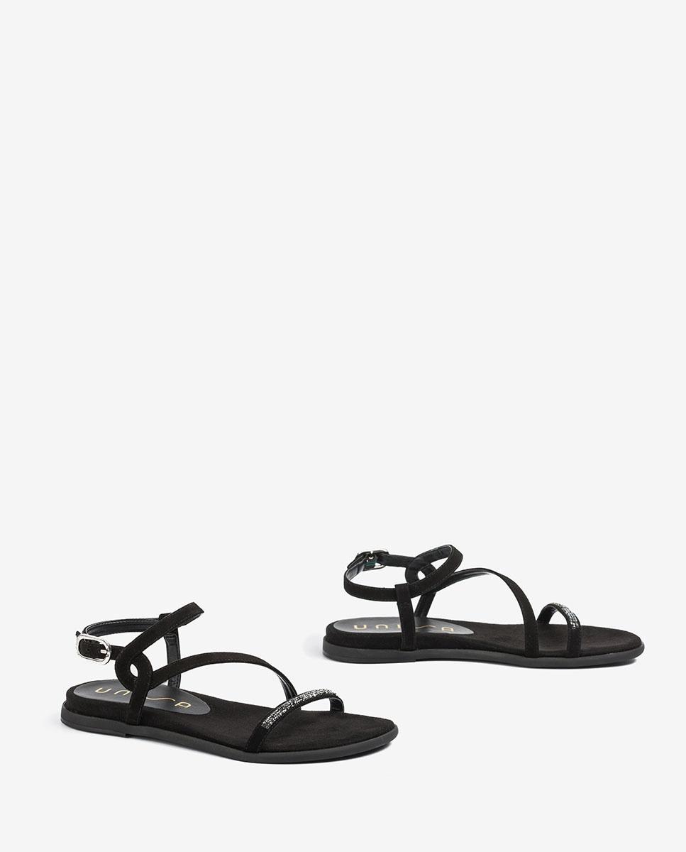 UNISA Sandale noire plate Swarovski CLARIS_KS black 3