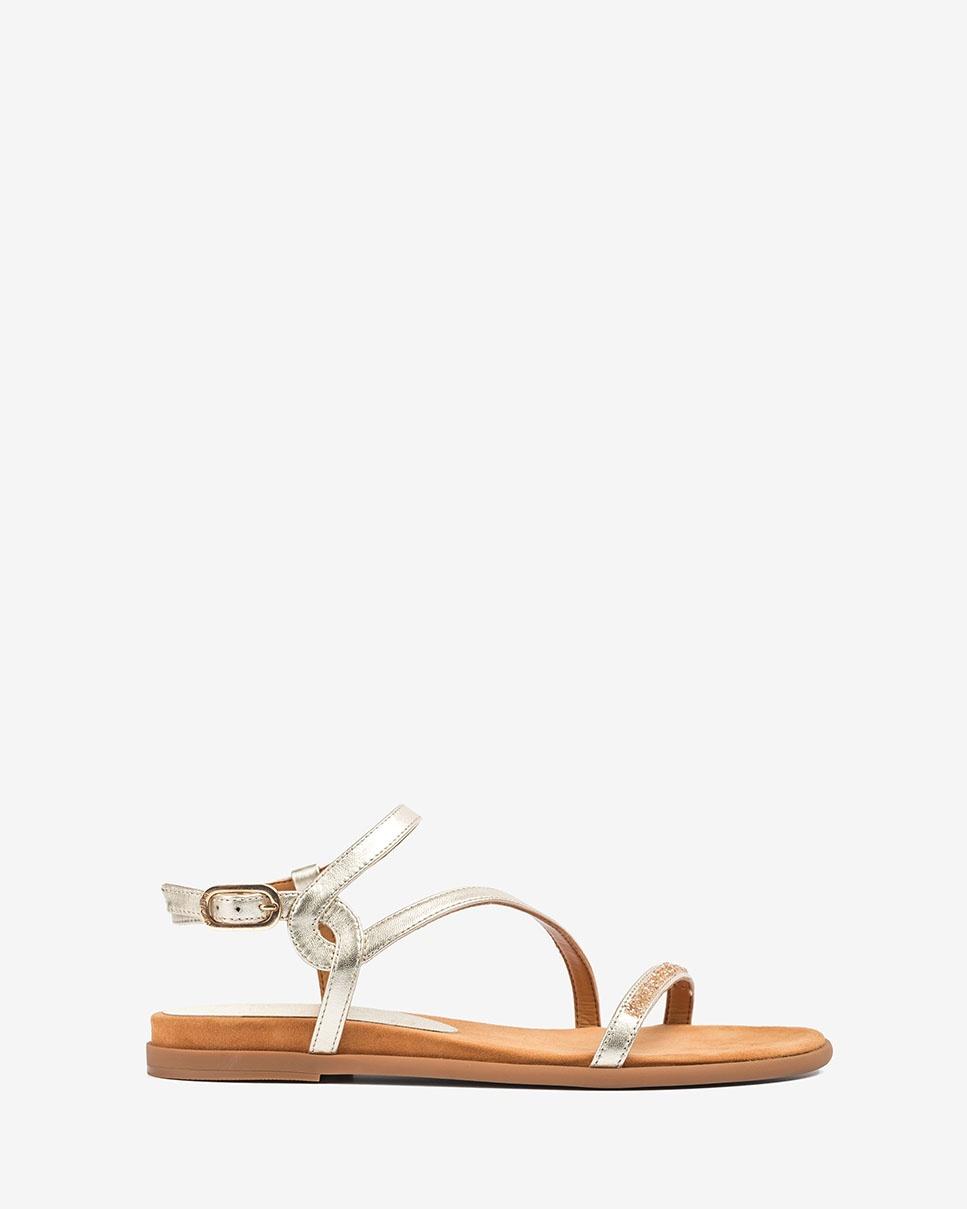UNISA Sandale plate dorée Swarovski CLARIS_LMT platino 3