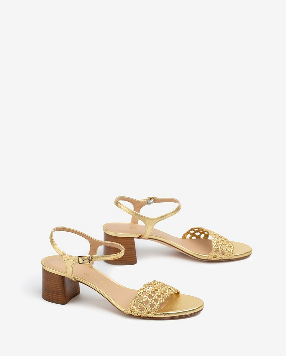UNISA Sandale dorée tressagee GITA_LMT gold 3