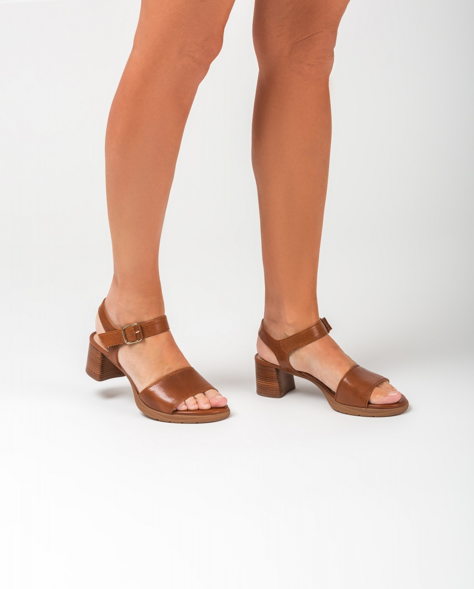 UNISA Sandales marron talon effet bois GODOY_GCR saddle 3