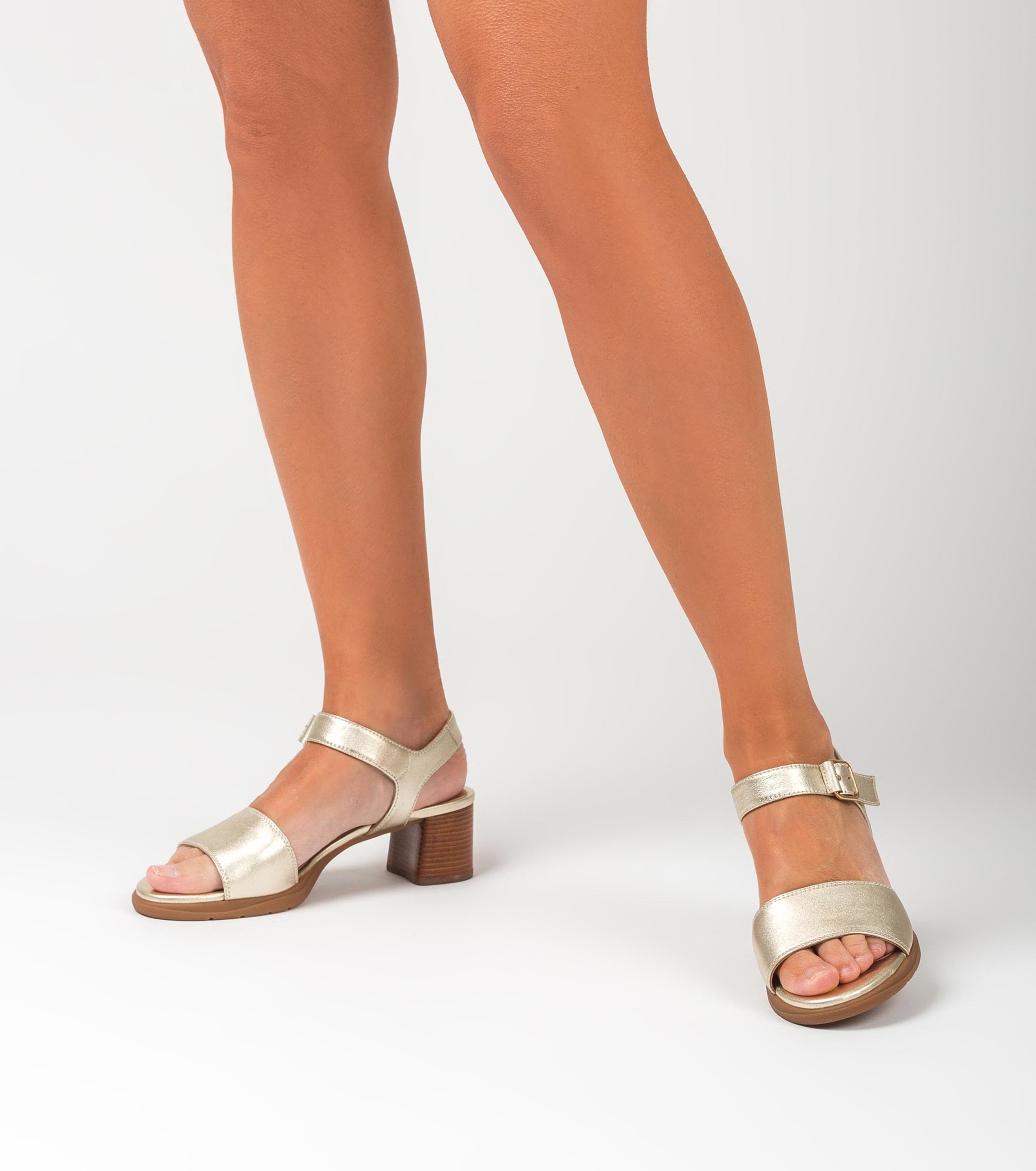 UNISA Sandale or clair talon effet bois GODOY_LMT platino 3