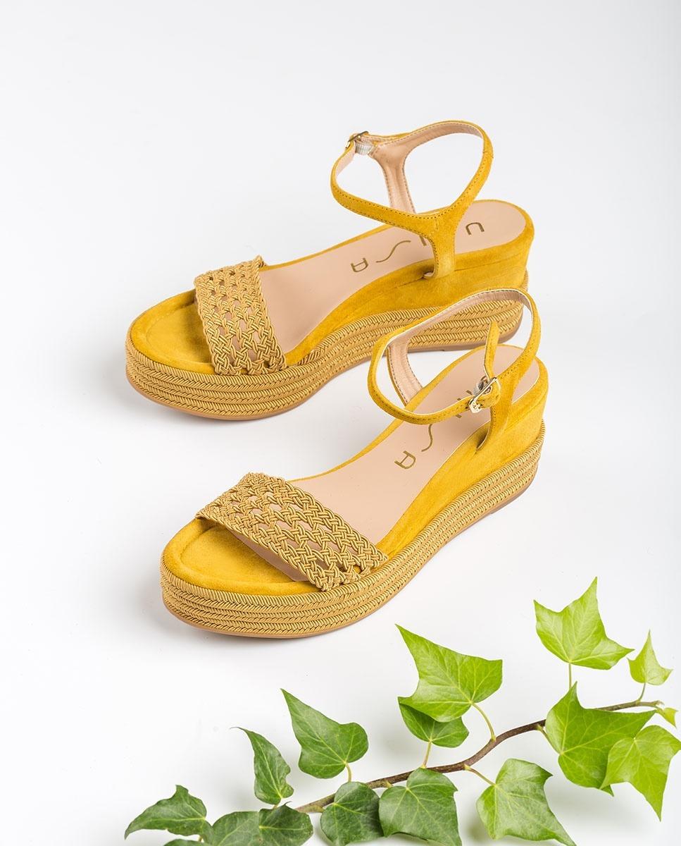 UNISA Sandale compensée claque tissu tressage KISOME_KS amber 3