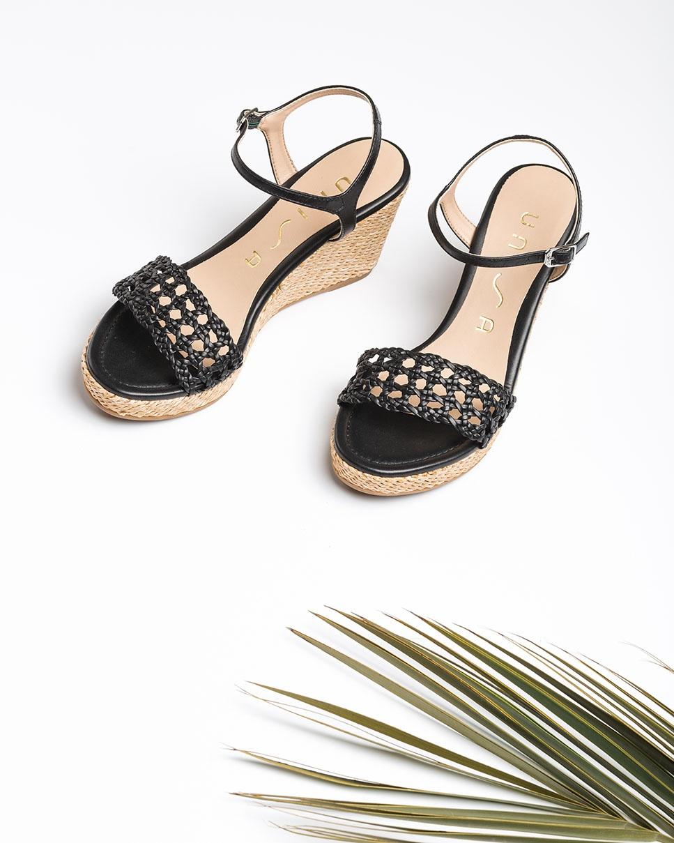 UNISA Sandale cuir macramé LOBI_NA black 3