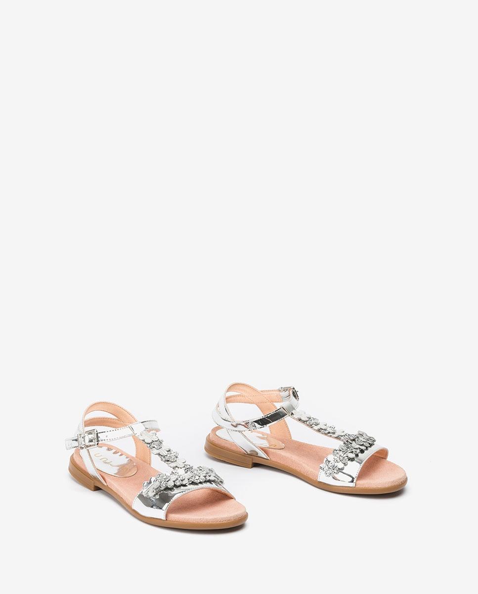 UNISA Sandale fille argentée fleurs LOSAN_C_SP silver 3