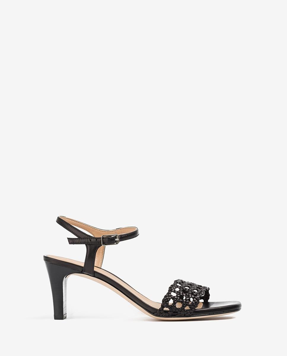 UNISA Sandale tressage macramé cuir MAXWEL_NA black 3