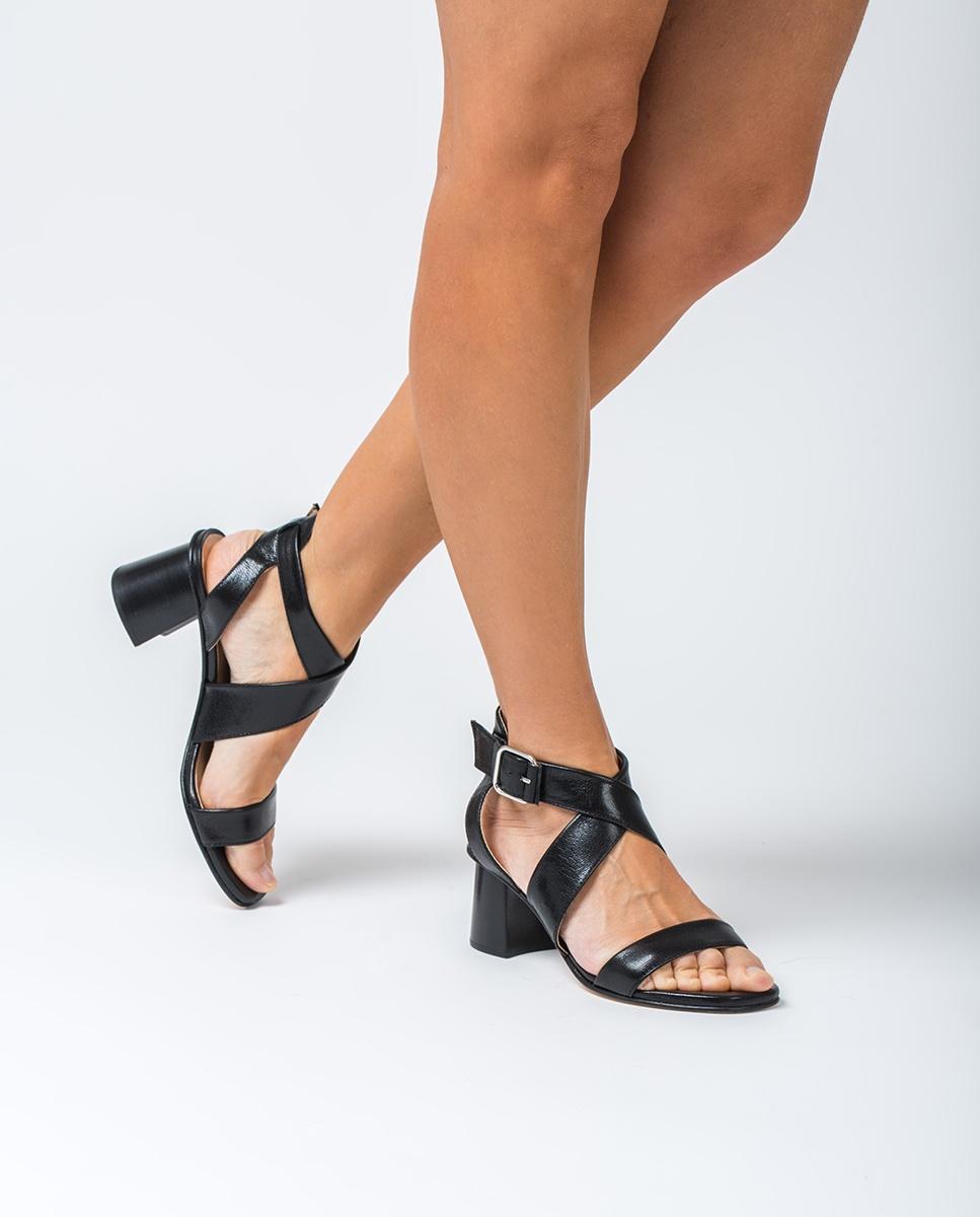UNISA Sandale claque croisé talon bois MINER_GCR black 3
