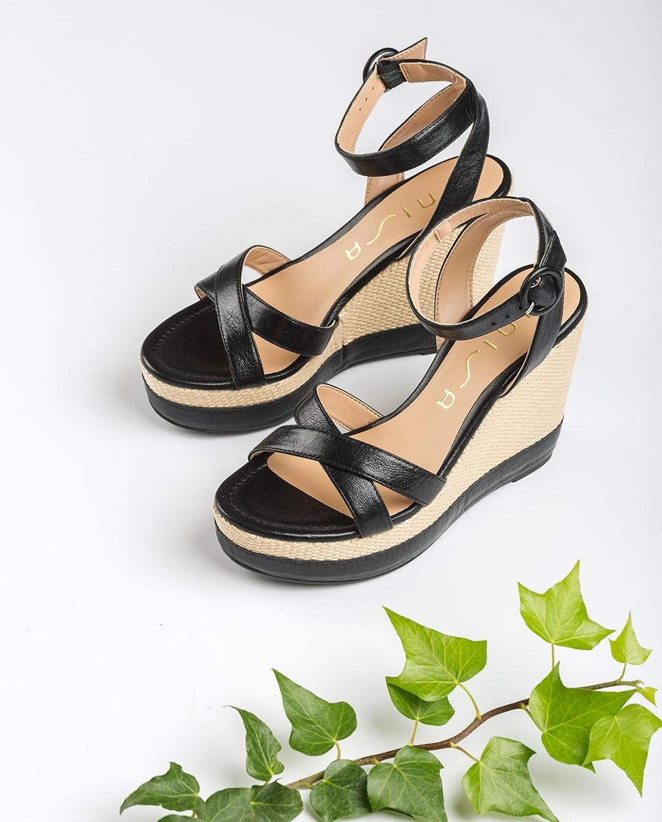 UNISA Sandale contraste cuir semelle compensée MONTEA_GCR black 3