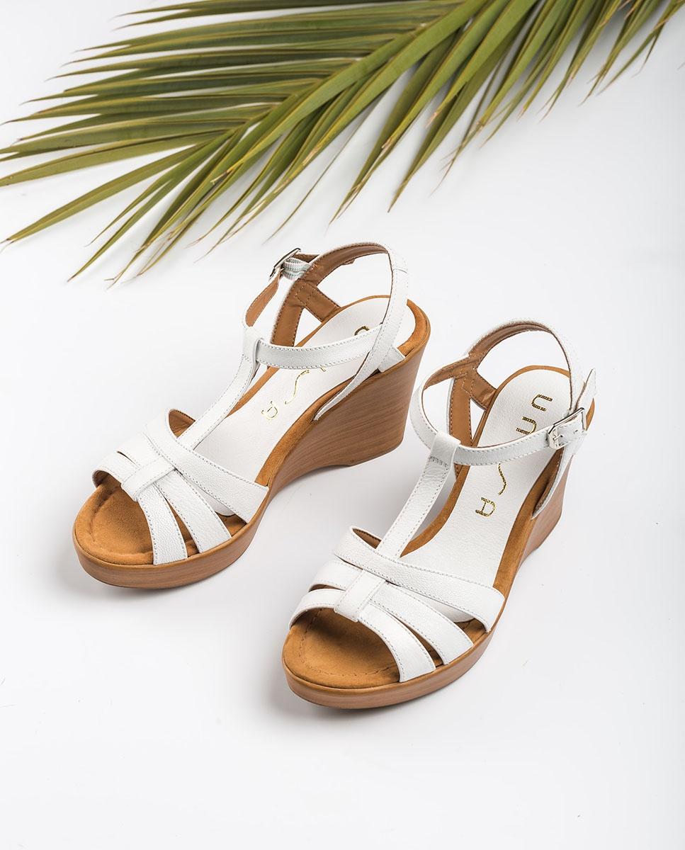 UNISA Sandale T-strap blanche RAMOS_GCR white 3