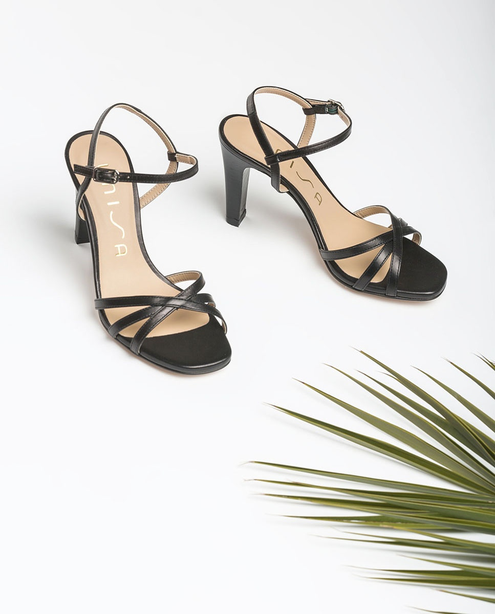 UNISA Sandale talon cuir lanières SANTA_NA black 3