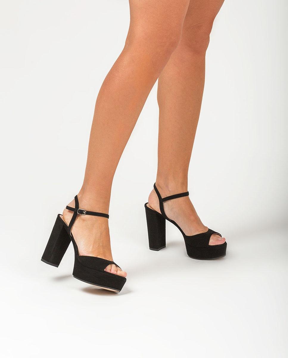 UNISA Sandale noire talon et plate-forme VEGARA_KS black 3