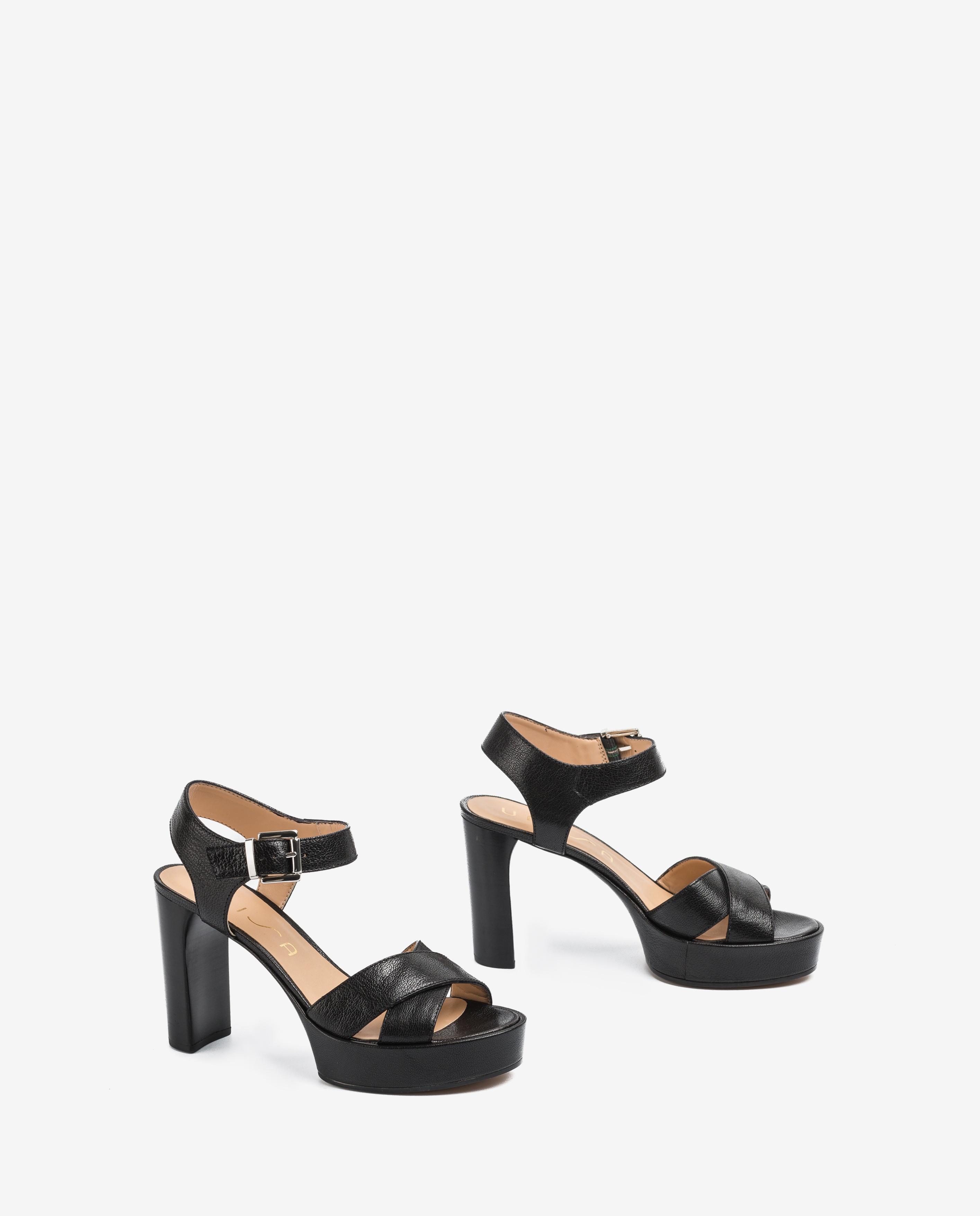 UNISA Sandale cuir talon bois VIKEN_20_GCR black 3