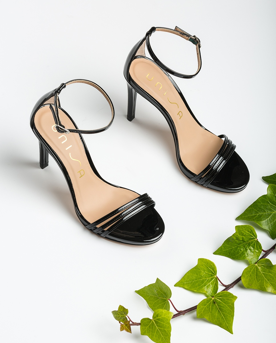 UNISA Sandale noire vernis lanières YADIN_PA black 3