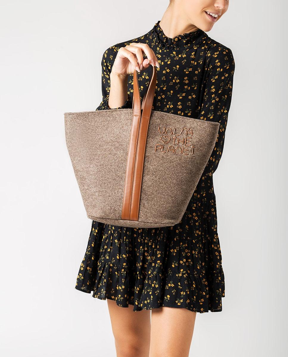UNISA Bolso shopper ecowool ZPATY_EW_CAN natu/sadd