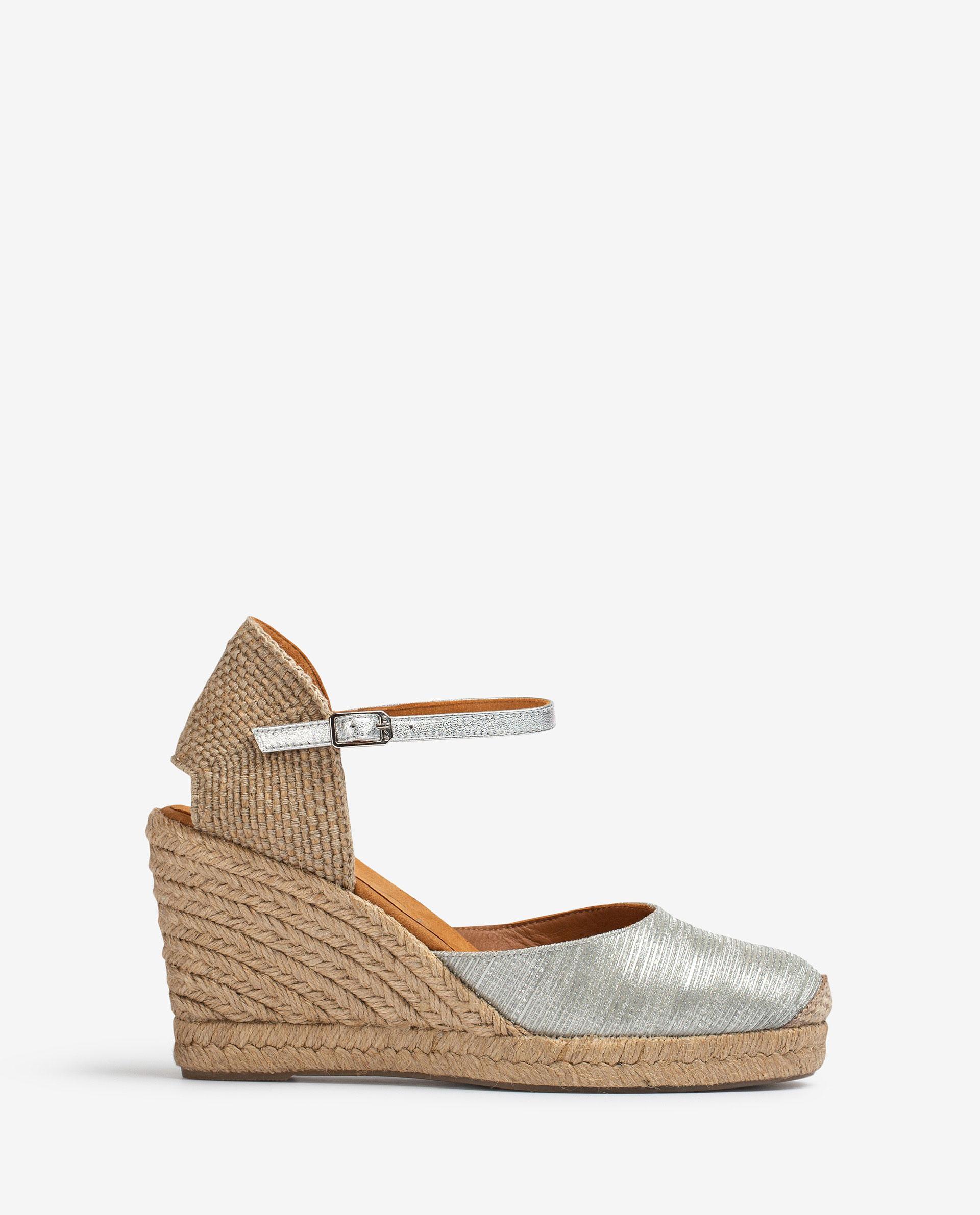 UNISA Alpargata estilo pala talón en piel efecto brillo CASTILLA_21_RAD_LMT