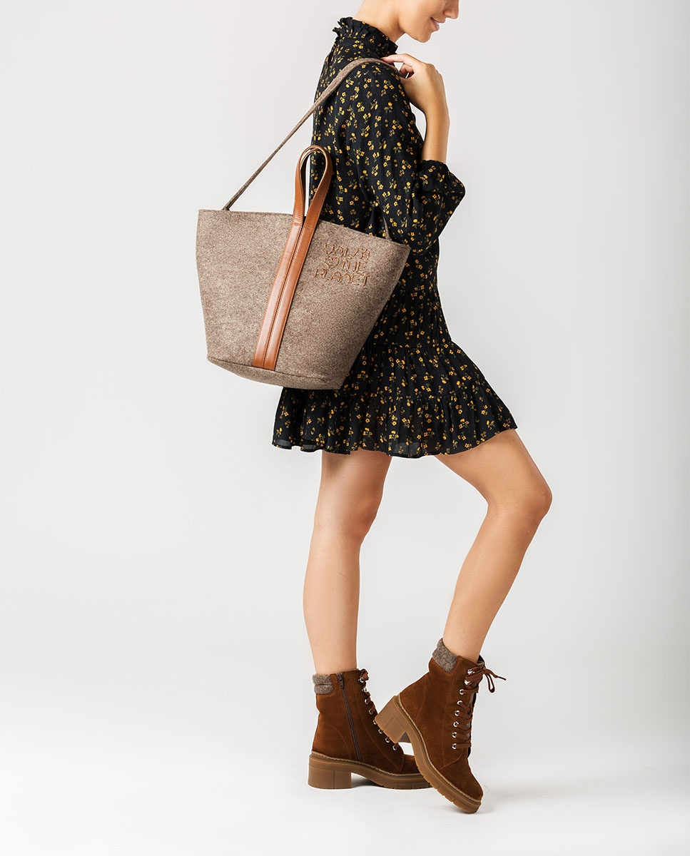 UNISA Ecowool shopper bag ZPATY_EW_CAN natu/sadd 3