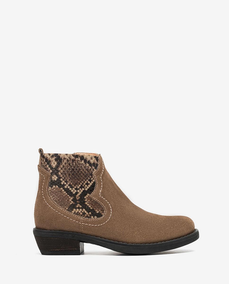 UNISA Botín cowboy de niña marrón WAFI_F20_BS taupe_19
