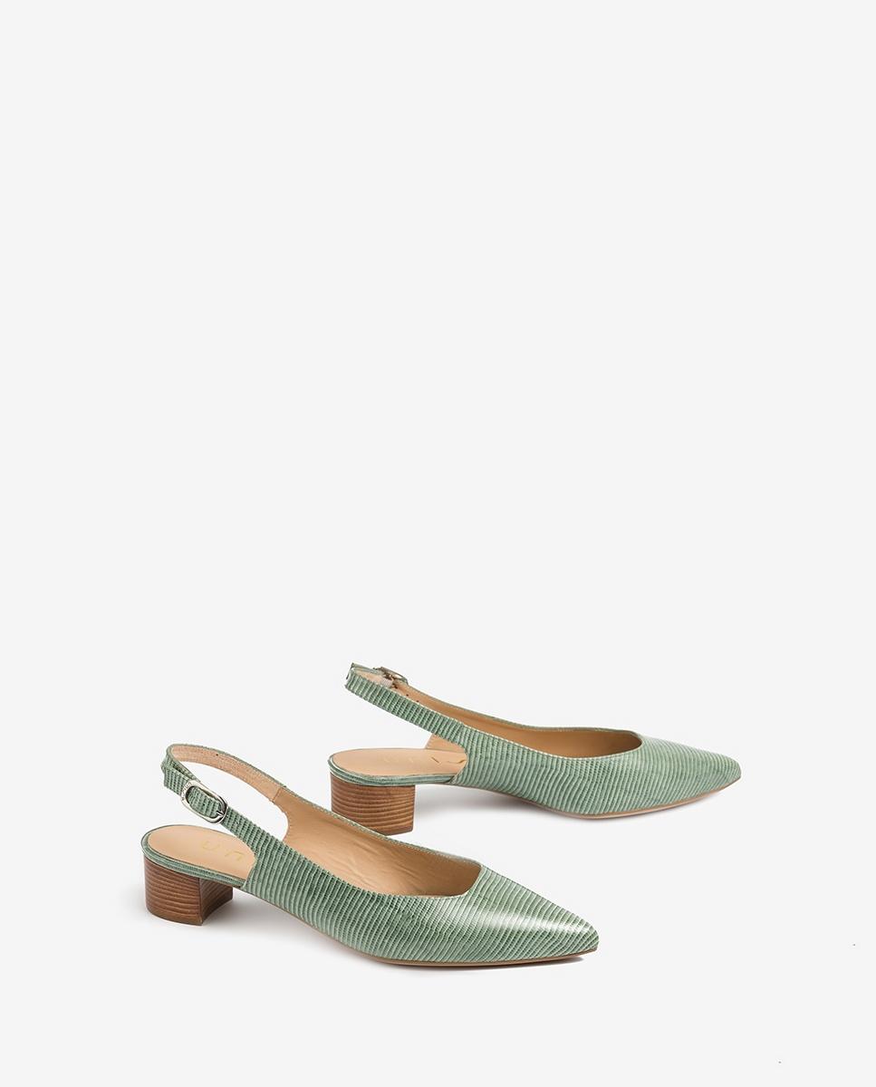 UNISA Chaussure ouverte cuir gravé talon bas GIJON_LI mint 3