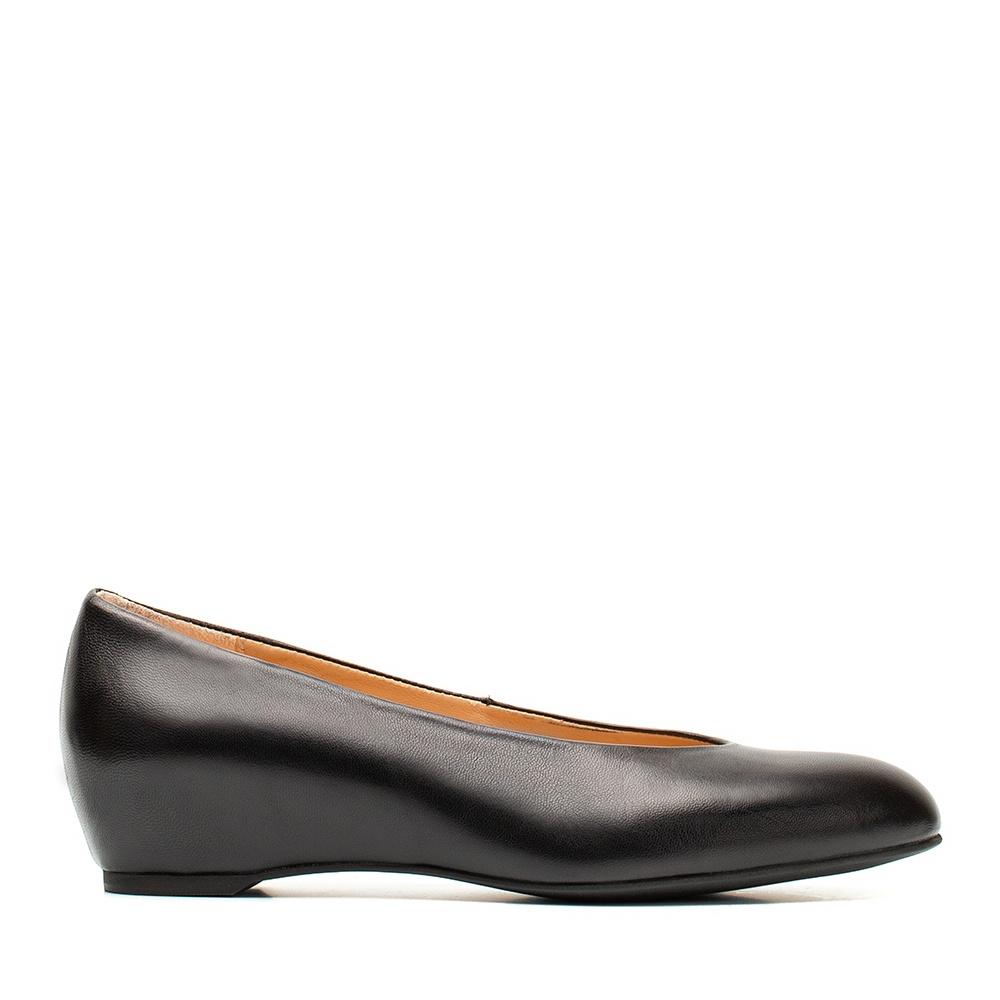 4c1ea9282 Black leather wedge ballerina