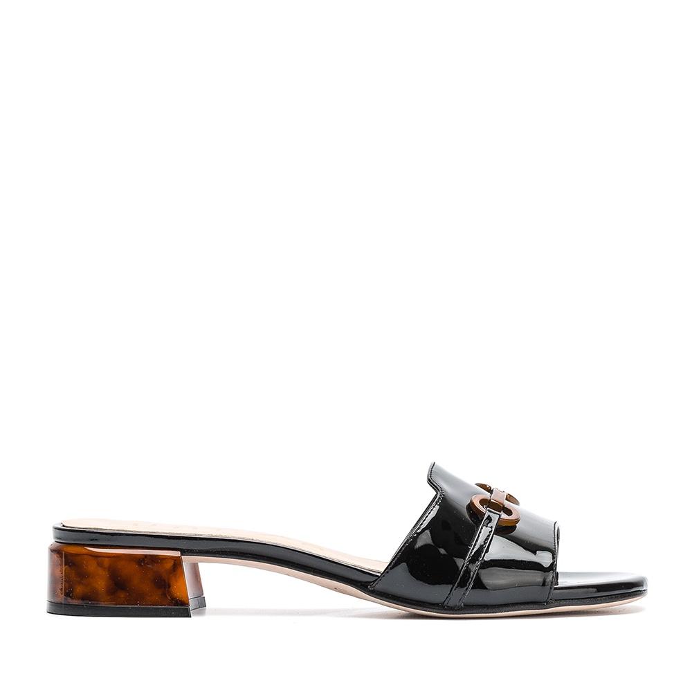 ed7896965 UNISA DOJARA_PA - Patent leather mule sandal, Unisa sandal carey heel.
