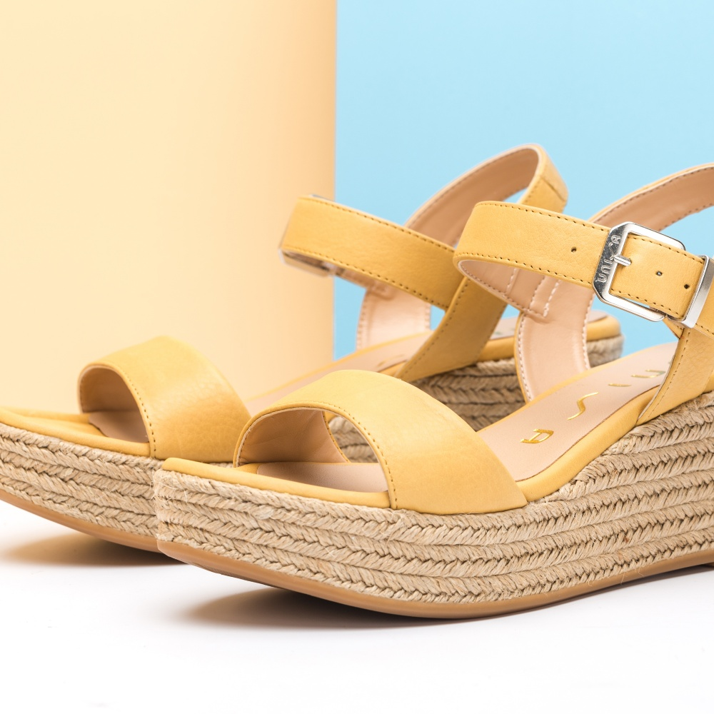 631f7fc01e4 UNISA Sandale aus Leder Jute-Keil KALKA STY yellow 5