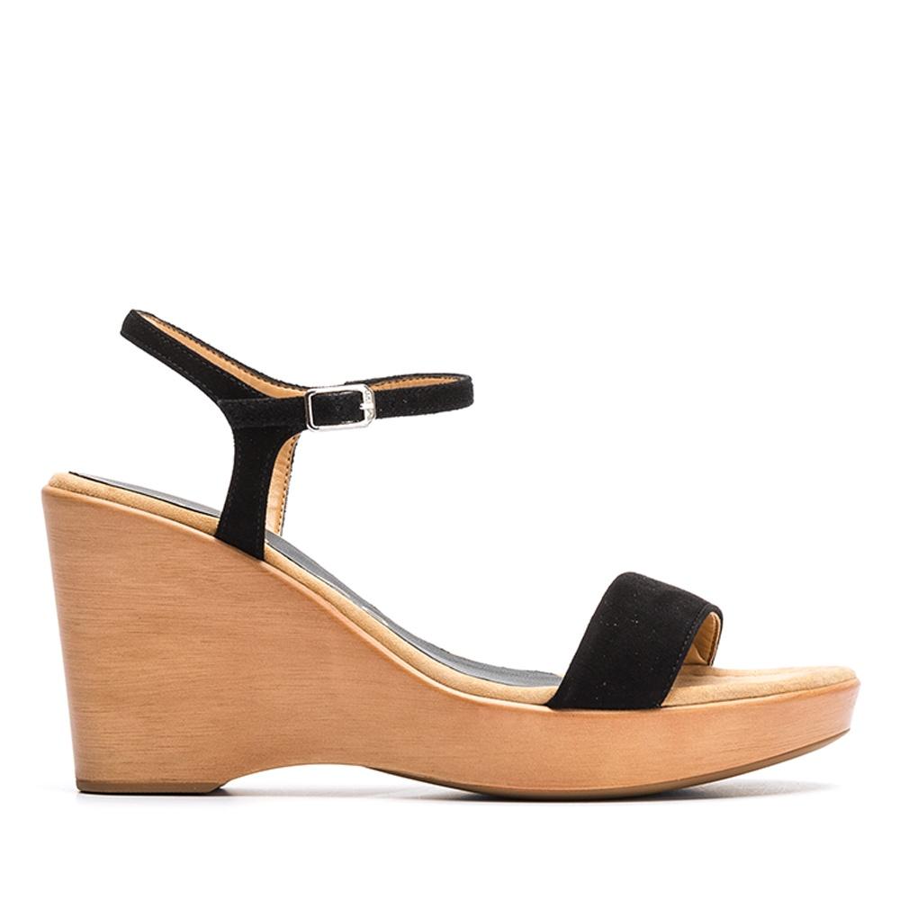 c654916deb91f UNISA Kid suede wedge sandals RITA 19 KS black 2